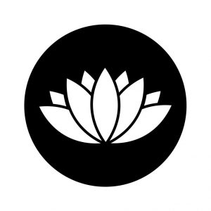 Lotus icon in black circle isolated on white background. Lily icon. Lotus abstract icon in black. Vector illustration for graphic design, Web, UI, app